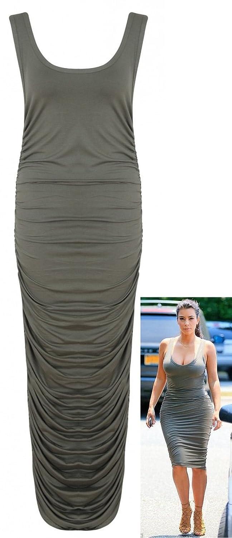Crazy Girls Womens Kim Kardashian Ruched Gathered Scoop Neck Ladies Midi Dress