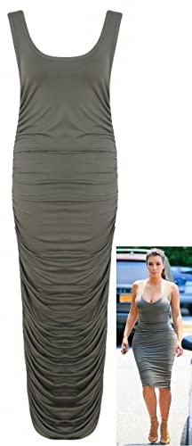 Crazy Girls Womens Kim Kardashian Ruched Gathered Scoop Neck Ladies Midi Dress