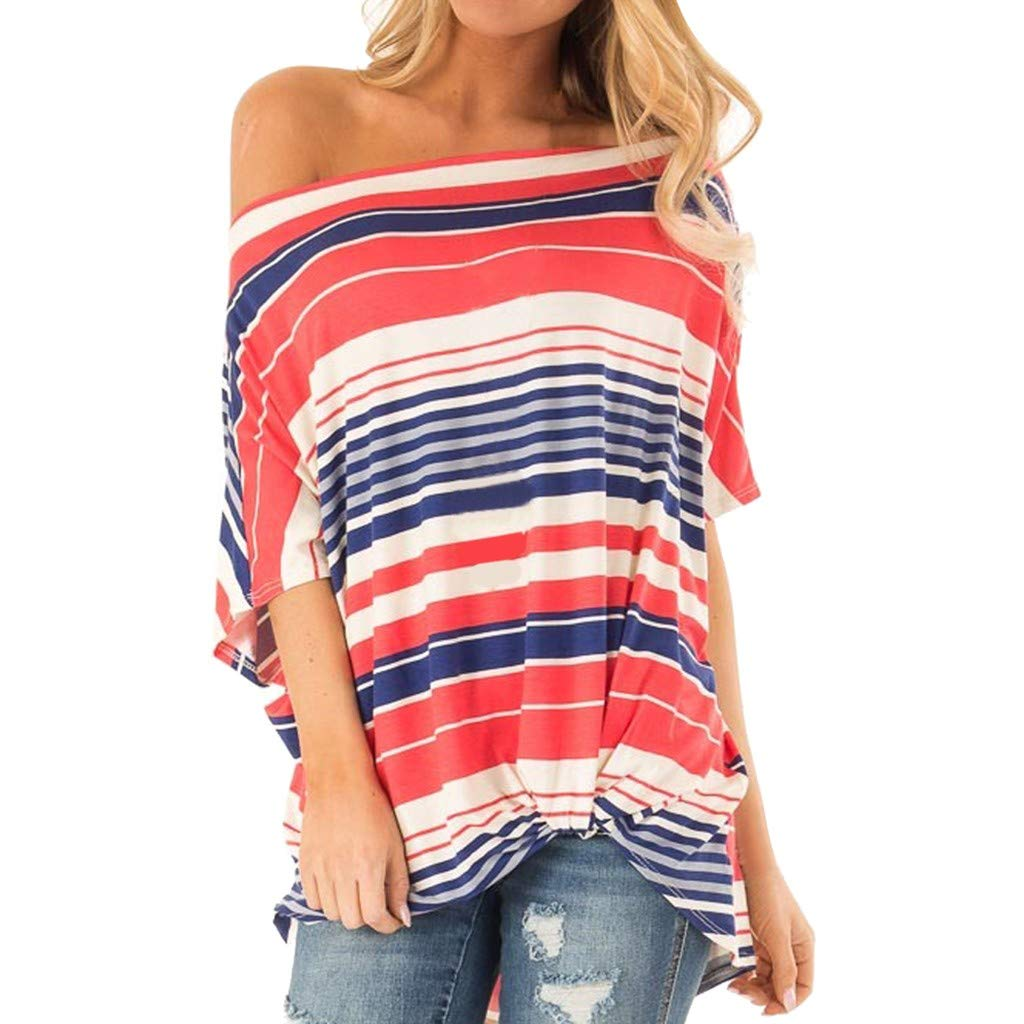 2019 Fashion Womens Summer Short Sleeve T Shirt One Shoulder Striped Knot Slash Neck Casual Blouse Tops (Red, S)