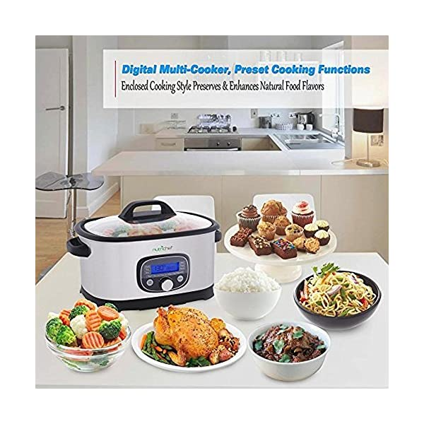 NutriChef Sous Vide Slow Cooker - 11 in 1 Steamer Stainless Steel High-Pressure Multi Cooker Crock Pot w/ Digital LCD… 5