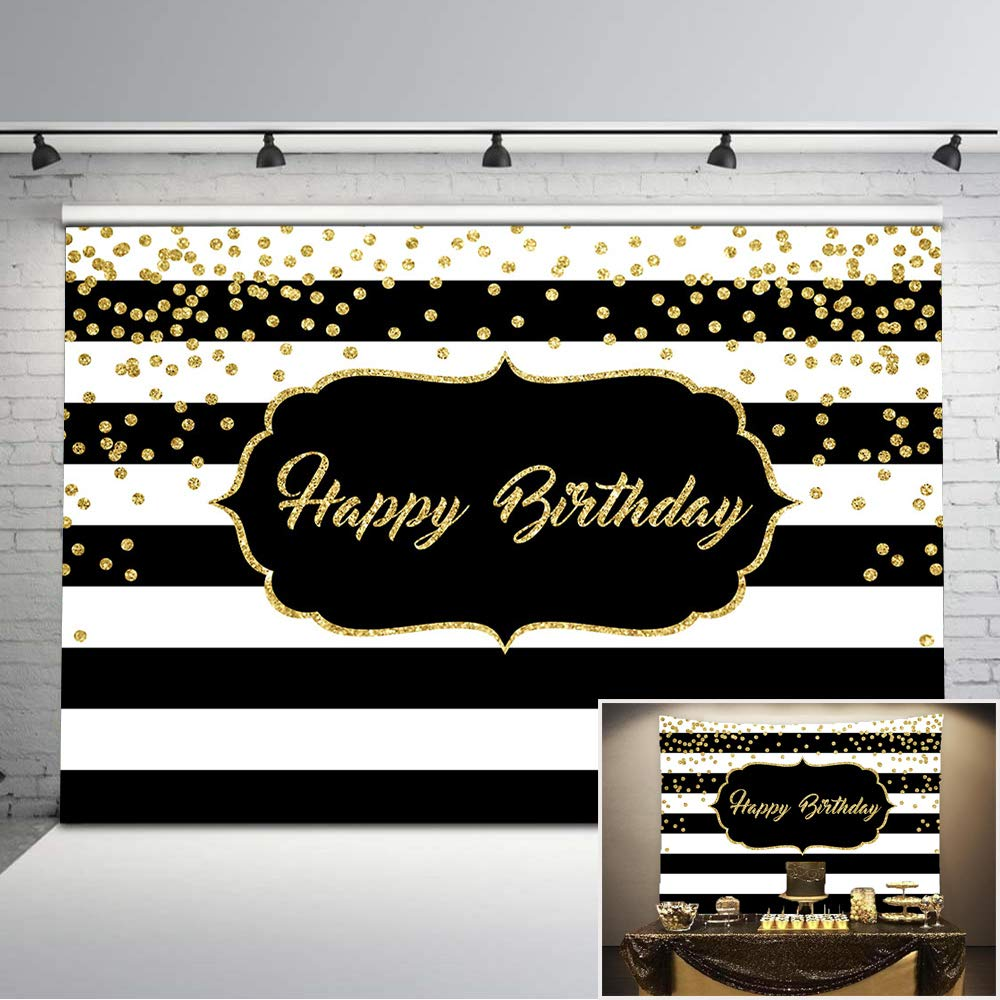Mehofoto Happy Birthday Backdrop Gold Glitter Dots Black and White Stripes Photo Background 7x5ft Adults Birthday Photography Backdrops Cake Table Decorations Supplies