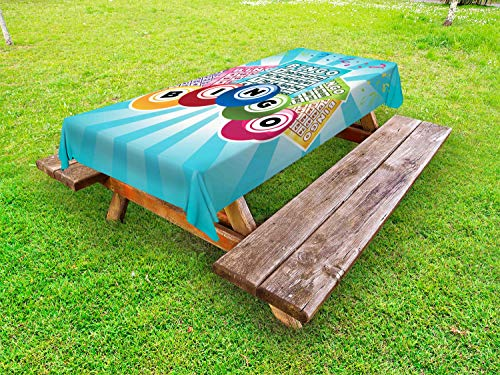Ambesonne Bingo Outdoor Tablecloth, Colorful Illustration of Bingo Cards and Balls on Blue Sun Rays Retro Style, Decorative Washable Picnic Table Cloth, 58 X 84 Inches, Pale Blue -
