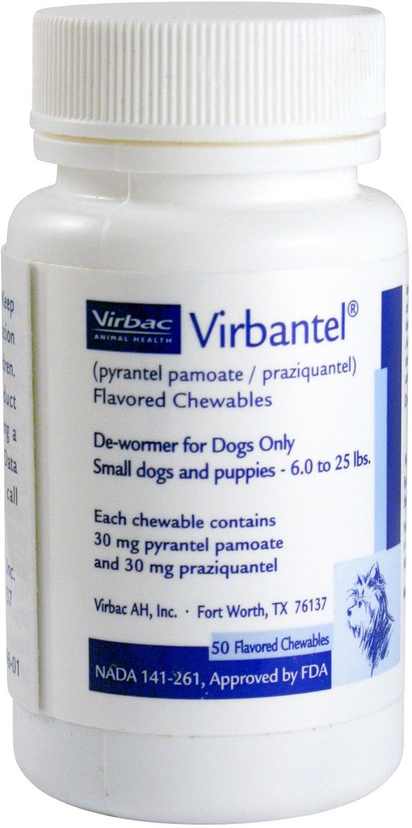 Virbantel Flavored Chewable Tablets - Dewormer for Dogs - Pyrantel Pamoate / Praziquantel - Effective Against Roundworms, Hookworms, and Tapeworms (6-25lbs - 30mg)