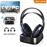 Wireless TV Headphones Over Ear Headsets - Digital Stereo Headsets with 2.4GHz RF Transmitter, Charging Dock, 100ft Wireless Range and Rechargeable 20 Hour Battery TV Headphone Wireless