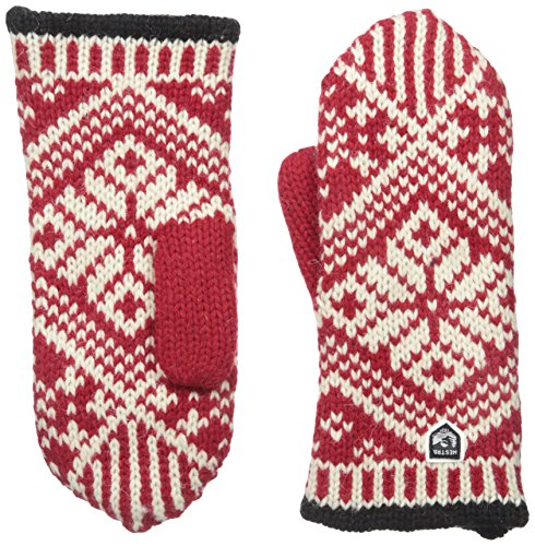 Hestra Womens Wool Mittens: Nordic Knit Winter Gloves, Red/Off White, 8 ()