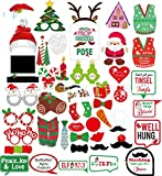 Christmas Photo Booth Props Kit, Coxeer DIY Christmas Photo Booth with stick Funny Xmas Selfie Props Accessories for Adults Kids for Christmas Theme Party Favors Decorations Decor Supplies (Multi 47)