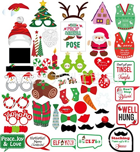 Christmas Photo Booth Props Kit, Coxeer DIY Christmas Photo Booth with stick Funny Xmas Selfie Props Accessories for Adults Kids for Christmas Theme Party Favors Decorations Decor Supplies (Multi 47) by Coxeer (Image #1)