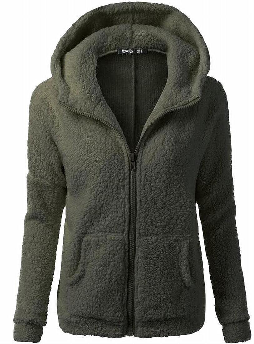 Xswsy XG Women Winter Warm Fleece Hoodie Zipper Pocket Sweatershirts