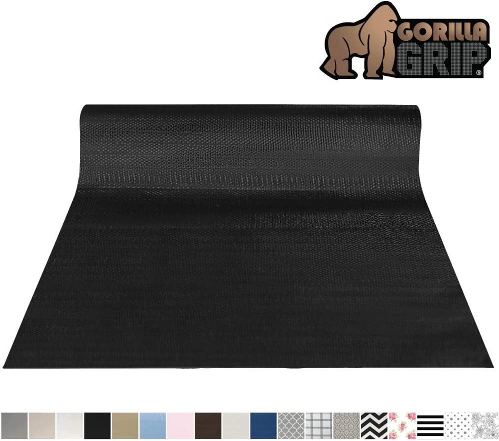 Gorilla Grip Original Smooth Top Slip-Resistant Drawer and Shelf Liner, Non Adhesive Roll, 12 Inch x 20 FT, Durable Kitchen Cabinet Shelves Liners for Kitchens Drawers and Desks, Black