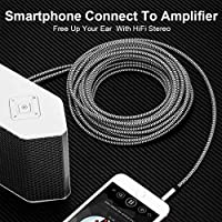MP3 Tablets RCA Cable 30 ft Speakers JewMod 3.5mm Male to 2RCA Male Stereo Audio Adapter Cable Nylon Braided AUX RCA Y Cord for Smartphones HDTV and More