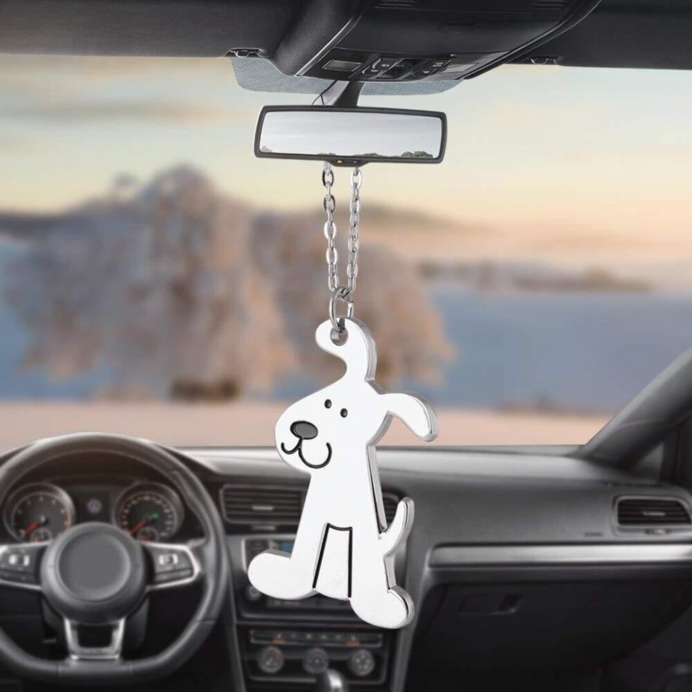 KJHKJH Car Ornaments Pendant Metal Cute Dog Hanging Auto Interior Rear View Mirror Decoration Dangle Trim Accessory Styling Friend Gift
