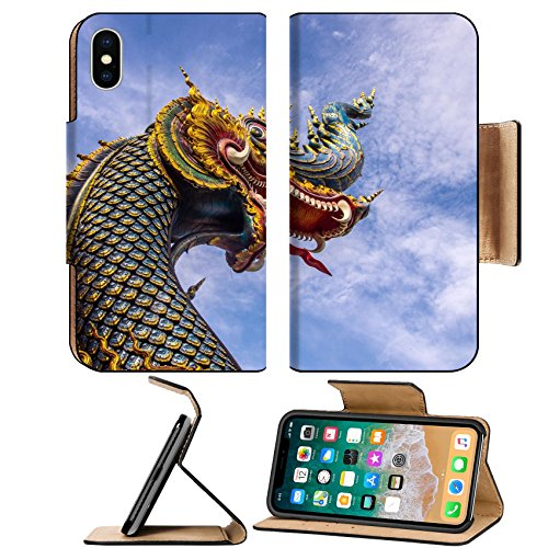 Liili Premium Apple iPhone X Flip Pu Leather Wallet Case headshot of naga sculpture at thai Buddhist temple Chiangrai Thailand 28651810 (Naga Heads)
