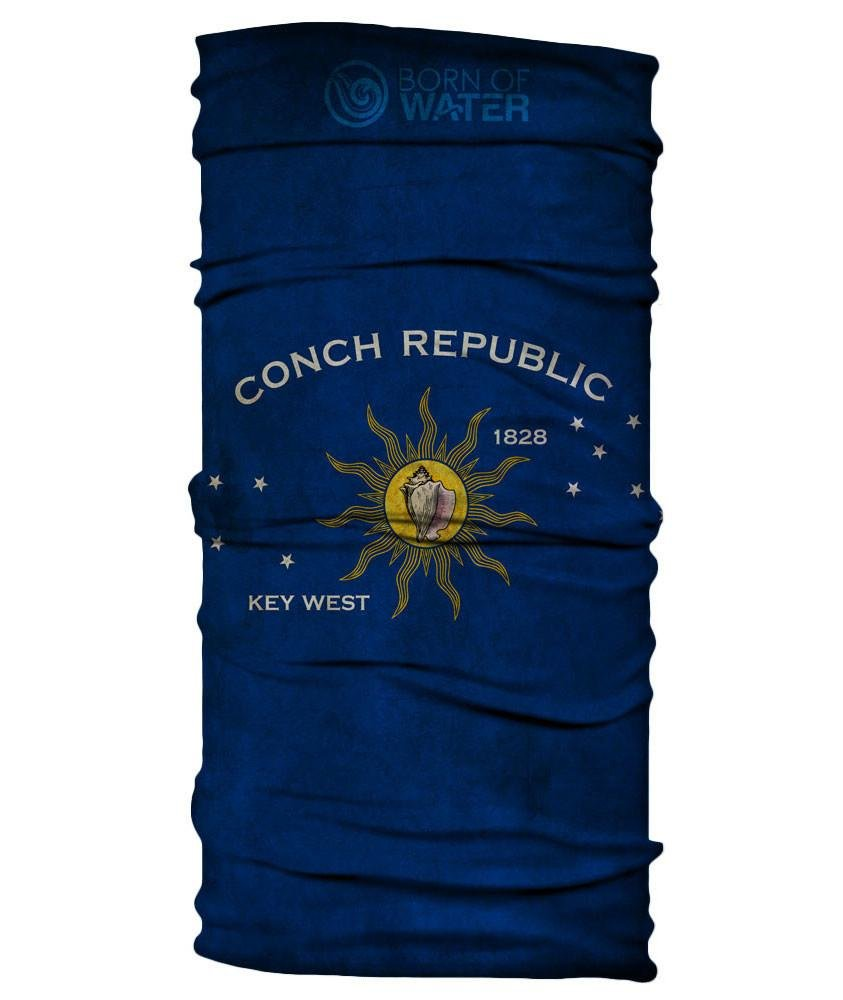 Born of Water Neck Gaiter: Conch Republic Flag: Grungy - Face Mask Shield UV Sun Protection