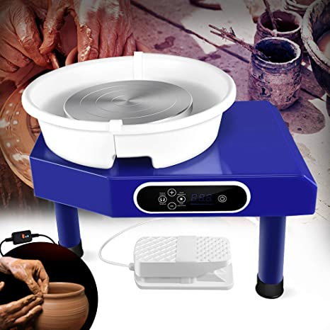 Blue EZYOU Upgraded Pottery Wheel Machine 350W with Removable Basin and Pedal for Ceramic Work Clay Art Craft