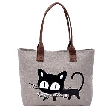 Bolso, Manadlian Nuevo Moda Mujer Bolsa de hombro Lindo bolso de gato Bolsa de lona Oficina Bolsa del almuerzo (42*28cm, D): Amazon.es: Hogar