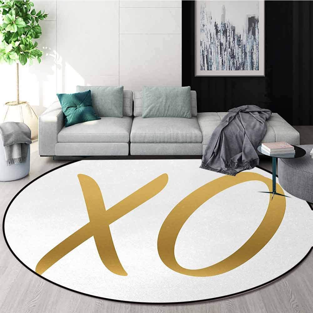 Xo Modern Machine Washable Round Bath Mat,Love Affection Happy Joyful Good Friendship Romance Sign Letters Artistic Design Non-Slip Living Room Soft Floor Mat Diameter-71 Inch,Gold And White 61TQrpKp0gL