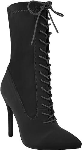 Neuf Talon Pour Taille Femmes De Soirée Aiguille Bottine Chaussures Lacet Velours Haut iuOPTwkXZ