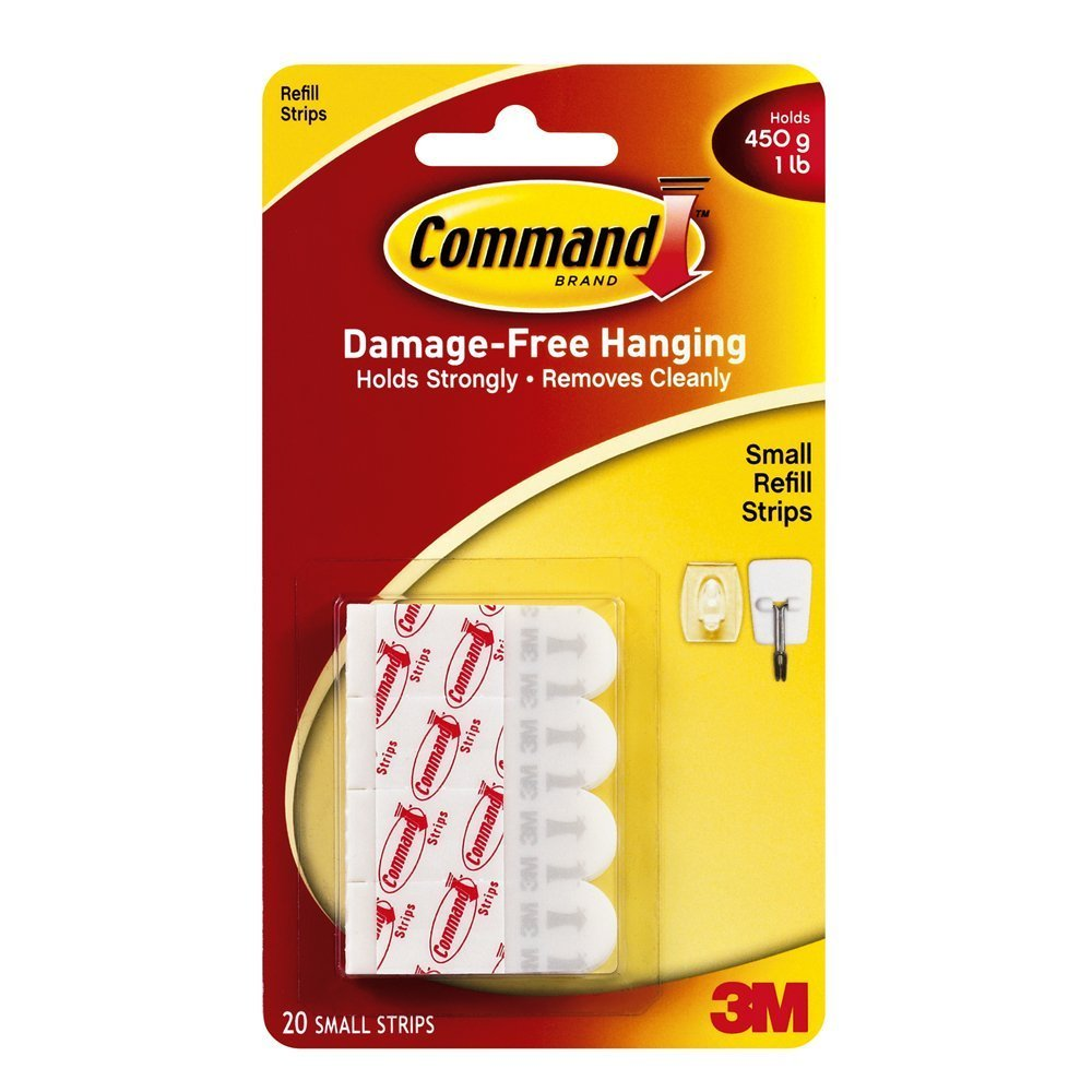 Command Small Refill Strips, White, 20-Strip, 4-PACK 3M