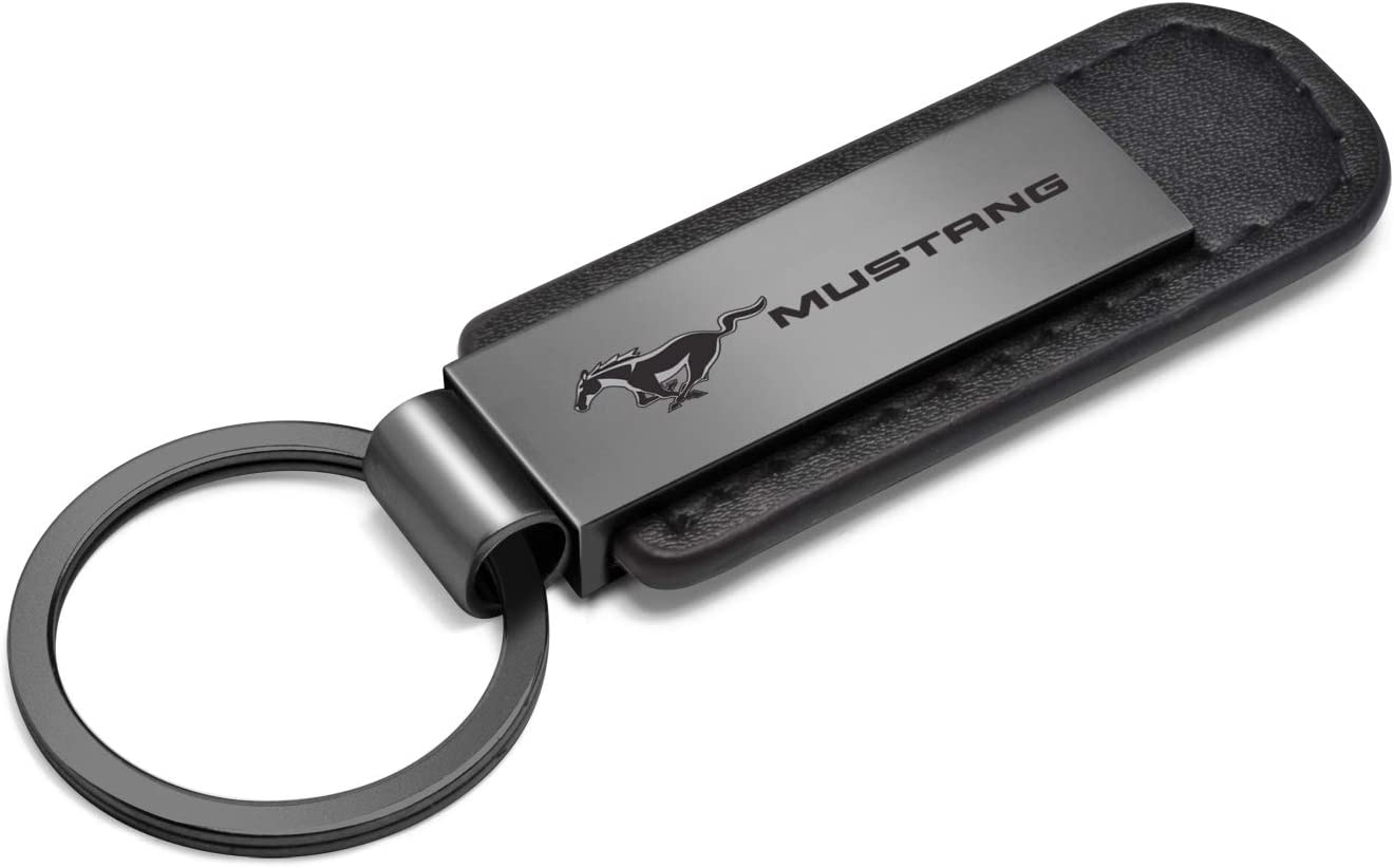 Ford Mustang Gunmetal Gray Metal Plate Black Leather Strap Key Chain iPick Image for