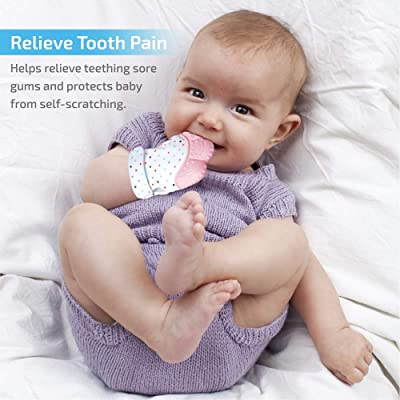 Natural Remedy for Infant /& Toddlers 3-6 Months Self-Soothing Teether /& Teething Pain Relief Toy Glove Plus Hygienic Travel Storage Pouch Blue 2 Mittens Prohapi Silicone Baby Teething Mitten