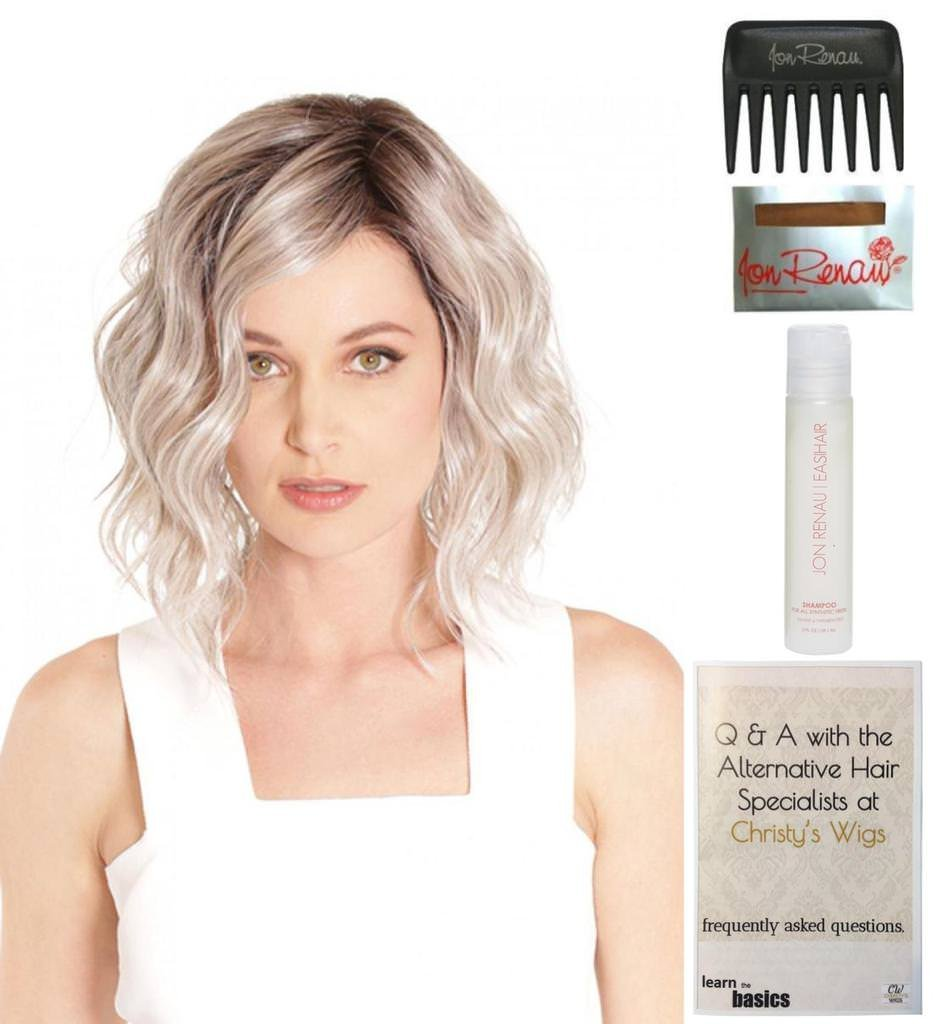Bundle - 5 items: Vienna Roast Lace Front Wig by Belle Tress, Christy's Wigs Q & A Booklet, 2oz Travel Size Wig Shampoo, Wig Cap & Wide Tooth Comb - Color: Mocha with Cream