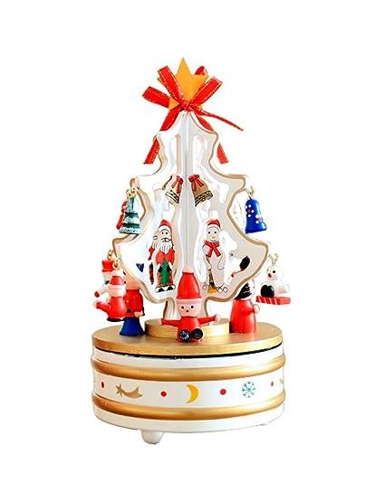 Regali Di Natale Per Casa.Decorazioni Natalizie Albero Di Natale Scatola Di Musica Rotante In Legno Decorazione Desktop Regali Di Natale Bianca