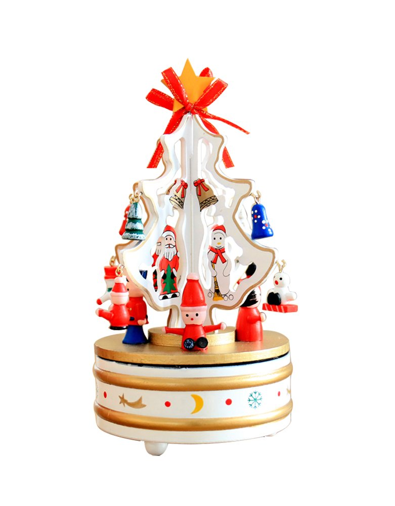 Christmas Decorations Christmas Tree Wooden Rotating Music Box Desktop Decoration Christmas Gifts (white) by HorBous (Image #5)