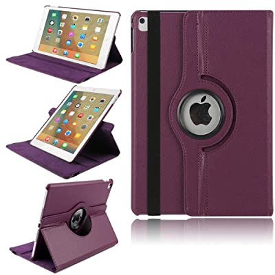 iPad Case 7th Generation,TechCode 360 Degree Rotating PU Leather Slim Fit Tablet Protector Smart Stand Feature Flip Folio Protective Case Sleeve for iPad 7th Generation 10.2'' (Purple): Beauty