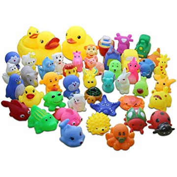 Fanxis Bath Toys, 20pcs Cute Animal Shape Children Silicone Toy with Sound Squeeze Toy for Baby Infants Kids Toddler Child Preschool Bathtub Bathroom Shower Games Swimming Pool Party