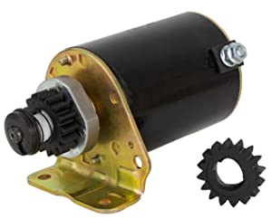 NEW STARTER MOTOR FITS BRIGGS STRATTON COOLED ENGINES 12HP 16HP WITH FREE GEAR 391423