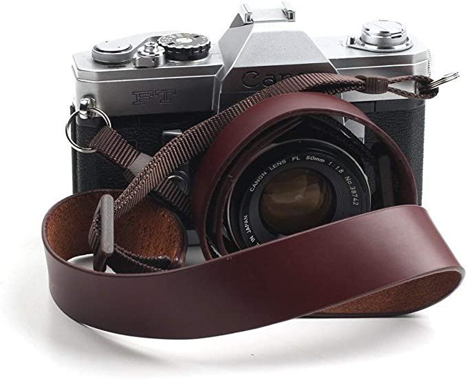 Color: Brown, Length 108cm CANPIS Leather Camera Neck Shoulder Strap with Movable Pad for Universal Camera Sony Leica Canon Nikon Fuji Olympus Panasonic etc.