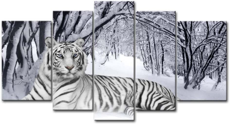 So Crazy Art - 5 Pieces White Tiger Wall Art Wall Painting The Picture Print On Canvas Animal Pictures Modern Artwork for Living Room Dining Room Home Decor Decoration Gift