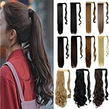 """S-noilite Wrap Around on Ponytail Clip in Ponytails Hair Extensions Human Made Real Natural Synthetic Pony Tail Hairpiece for Women Lady Girls 29 Style Available(24""""-curly dark brown)"""