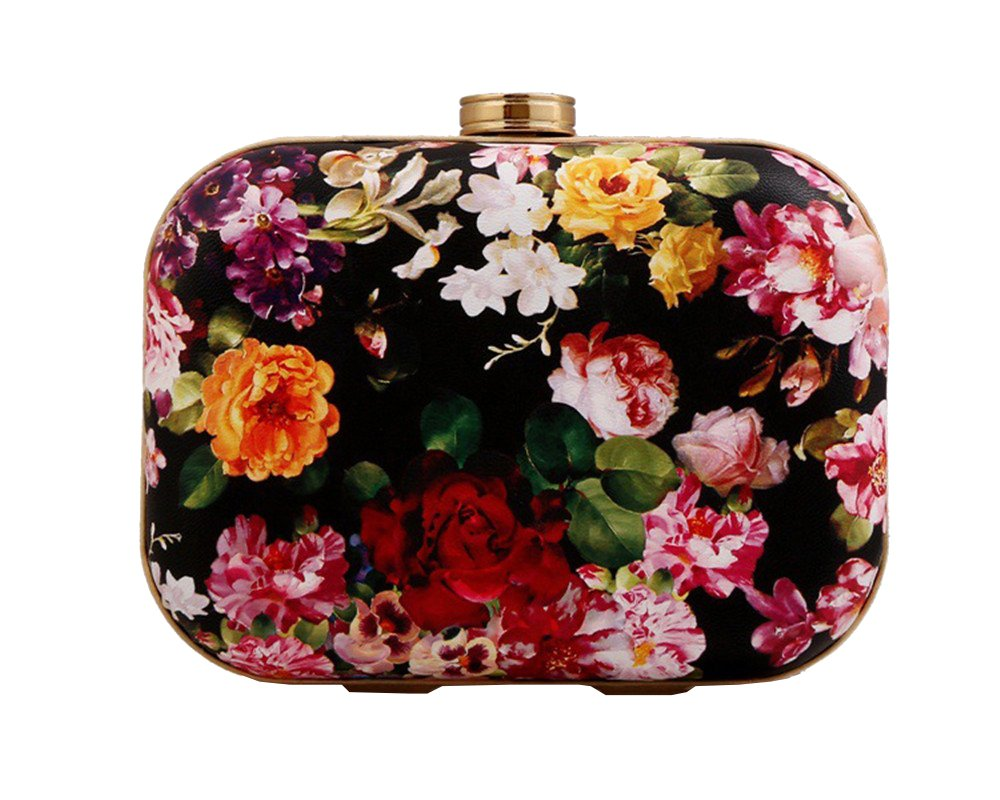 Women's Floral Print PU Leather Hardbox Clutch Colorful Mini Prom Evening Bag with Chain(Multi)