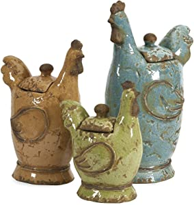 IMAX 50353-3 Cherda Lidded Roosters - Set of 3 Handcrafted Decorative Canisters with Removable Lids. Home Decor Accents