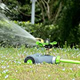 YeStar Lawn Sprinkler System, Adjustable 360° Rotating Portable Garden Impulse Sprinkler with Metal Head & Wheeled Base, Water Up to 4,800 Sq. Ft. Coverage