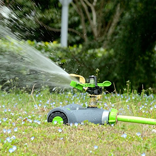 YeStar Lawn Sprinkler System, Adjustable 360° Rotating Portable Garden Impulse Sprinkler with Metal Head & Wheeled Base, Water Up to 4,800 Sq. Ft. (Moving Head System)