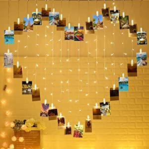 124 Lights Heart Shape Photo Clip String Lights,32 clip lights and 92 LED lights, Sweet Ambience Decoration for Birthday Party/Wedding Photoes Show,Hanging Size 6.56x5.25 ft, Warm White,Free Hooks