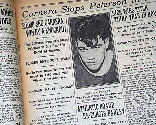 PRIMO CARNERA Italian Heavyweight Boxer Boxing Match at MSG 1930 NYC Newspaper THE NEW YORK TIMES, January 25, 1930.