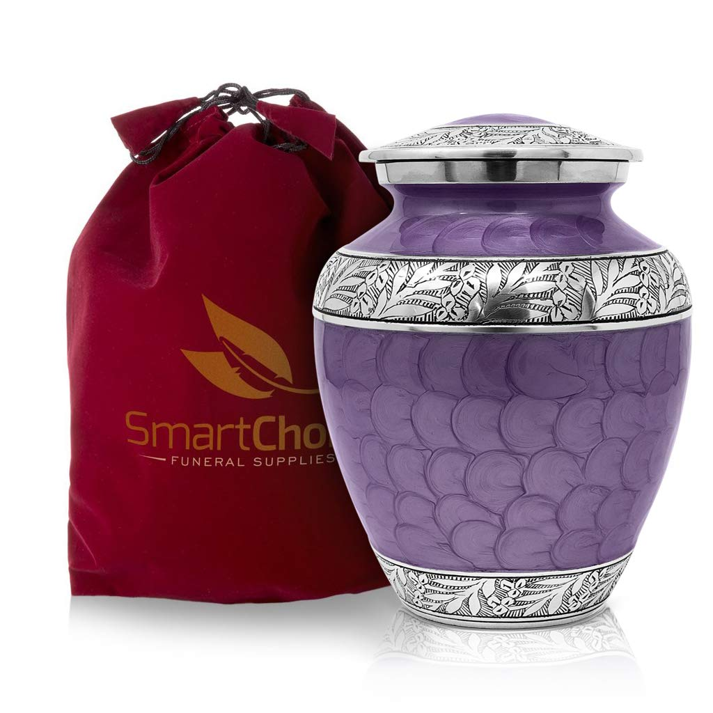 SmartChoice Royal Cremation Urn for Human Ashes - Affordable Funeral Urn Adult Urn for Ashes Handcrafted Urn (Purple)