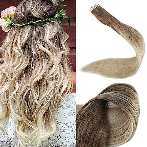 Full Shine 16quot Tape in Hair Extensions Human Hair Ombre Extensions Balayage Tape Extensions Dip Dye Real Hair Extensions Color #8 Fading to #60 Plautinum Blonde 50g 20 Pcs Per Package