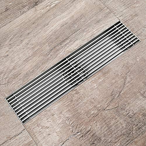 Bodenablauf Antike Messing Rechteckige Edelstahl-Drahtgewebe Oberfläche Horizontal-Streifen große Verschiebung Drainage Bodenablauf 300x70x25mm für Badezimmer Dusche Zimmer Toilette Wäscherei Ga