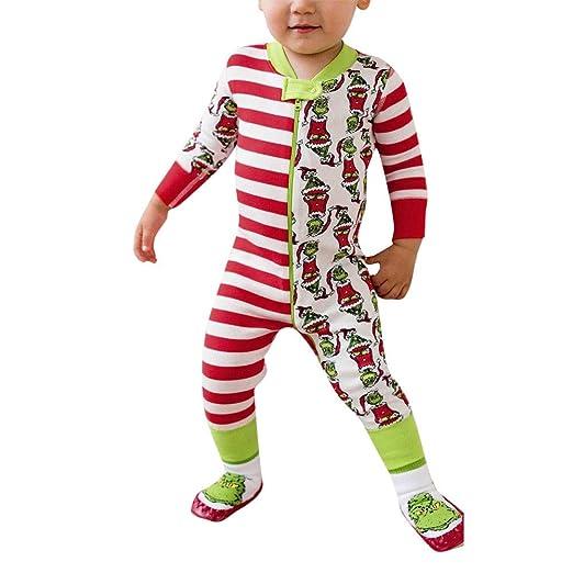 funny family matching christmas pajamas set striped santa elk sleepwear family jumpsuit nightwear zulmaliu multicolor