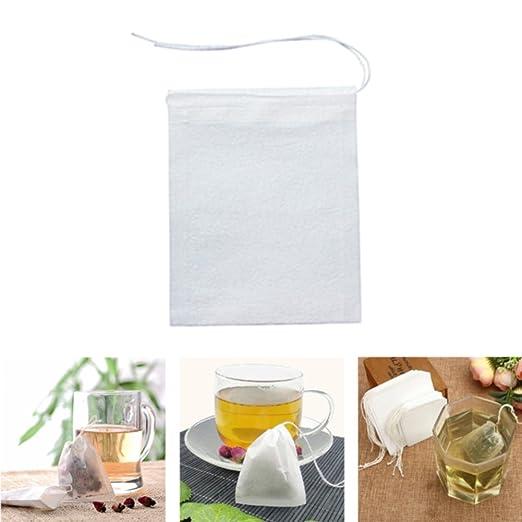 100 bolsas de té vacías de papel con cuerda de hoja de té y ...