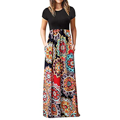 d7b6b0dad3 Womens Bohe Print Patchwork Maxi Dress