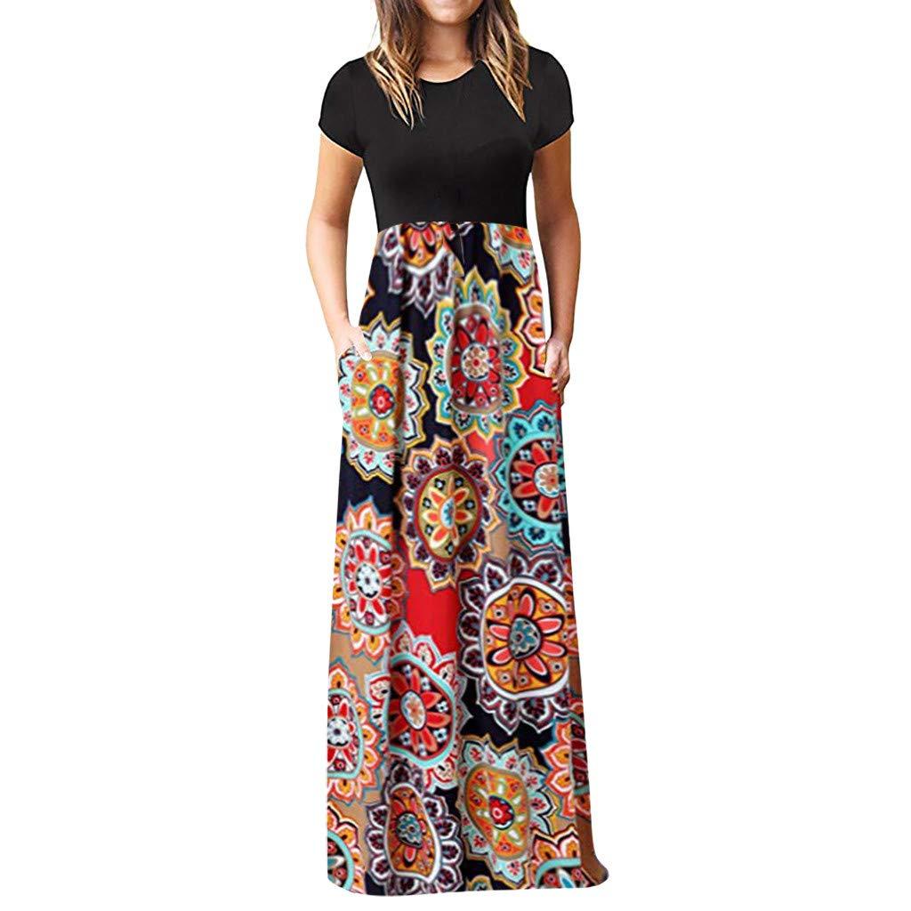 Women's Casual Short Sleeve O-Neck Print Maxi Tank Elegant Swing Long Dress