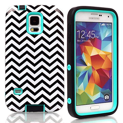 Galaxy S5 Case, S5 Cover, SAVYOU Wave Combo Hybrid Armor Premium Slim Shock Proof High Impact Soft TPU + Hard PC Bumper Protective Case for Samsung Galaxy S5 I9600