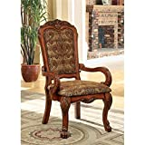Furniture of America Victoria Fabric Upholstered Arm Chair, Antique Oak Review