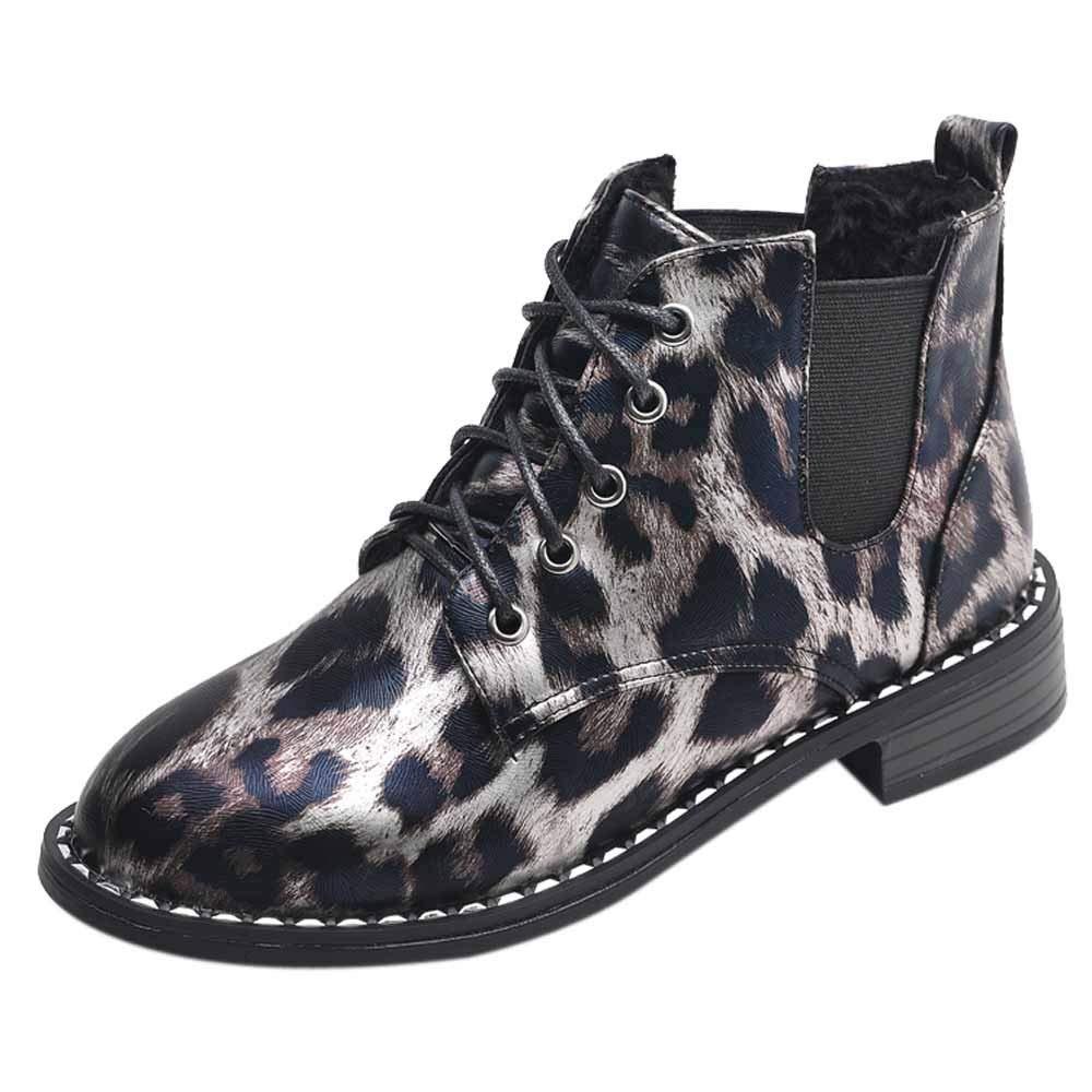 MYMYG Chelsea Boots Mode Frauen Bogen Spitze Stiefeletten Flache Beilä ufige Wildleder Einzelne Stiefel Leopard Schuhe fü r Walking Sports Joggingschuhe Atmungsaktiv MYMYG-311068WOMEN