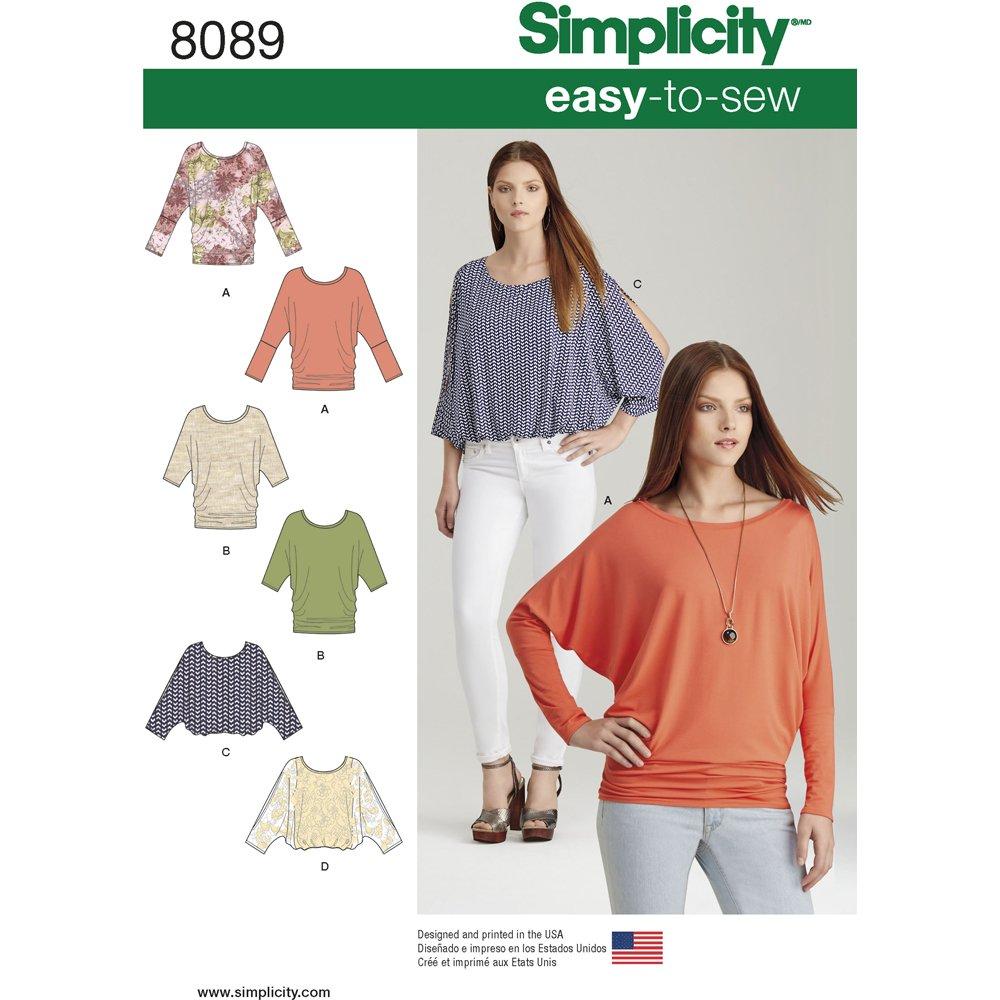 Simplicity easy_to_Sew-Cartamodelli per top da donna, a maglia, di carta US8089A